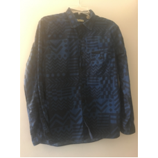 Size Large Burberry Geometric Print L/S Button Up